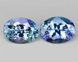2.75 Cts 2pcs Amazing rare Violet Blue Color Natural Tanzanite Gemstone