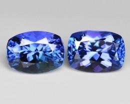 3.10 Cts 2pcs Amazing rare Violet Blue Color Natural Tanzanite Gemstone