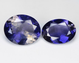 1.42 Cts 2 pcs Amazing Rare Purple Color Natural Iolite Gemstone