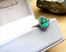 1,05ct Colombian Emerald 18k Solid Gold Ring with Diamonds 22/32 Colomb
