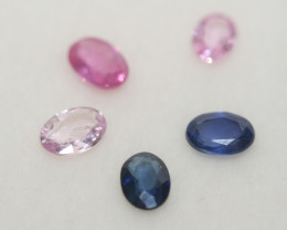 0.81Ct Multicolor Sapphire Lot Faceted Oval 4x3mm.-(5pcs).-(SKU304)