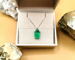 4,87ct Colombian Emerald 18k Solid Gold Pendant with Diamonds Ref 26/32 Col