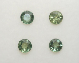 0.86 Ct Green Sapphire Lot Faceted Round 3.5mm.-(4pcs).-(SKU310)