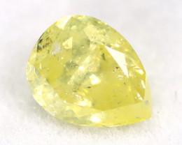 Intense Yellow Diamond 0.21Ct Untreated Genuine Fancy Diamond AT0083