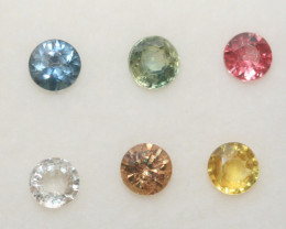 1.66 Ct  Multicolor Sapphire Lot Faceted Round 3.7mm.(6Pcs).-(SKU313)