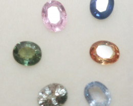 2.5 Ct  Multicolor Sapphire Lot Faceted Oval 5x4mm.(6Pcs).-(SKU315)