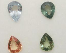 1.5 Ct  Multicolor Sapphire Lot Faceted Drop 5x4mm.(4Pcs).-(SKU316)
