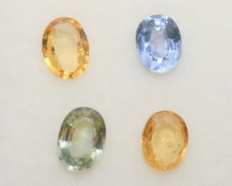 1.45 Ct  Multicolor Sapphire Lot Faceted Oval 5x4mm.(4Pcs).-(SKU319)