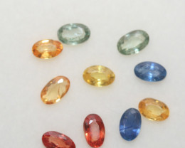 2.98 Ct  Multicolor Sapphire Lot Faceted Oval 5x3mm.(10Pcs).-(SKU320)