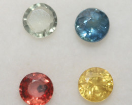 1.57 Ct  Multicolor Sapphire Lot Faceted Round 4mm.(4Pcs).-(SKU326)