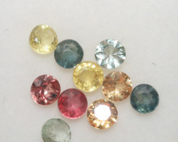 1.86 Ct  Multicolor Sapphire Lot Faceted Round 3.5mm.(10Pcs).-(SKU328)