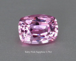 Fine Baby Pink Near Loupe Clean Sapphire - 1.79ct Cushion