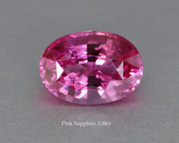 Gleaming Fine Bright Pink Sapphire Oval 3.08ct - Lovely Gem - Heated