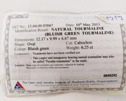 6.25 Cts GIT Certified Copper Bearing Blue-Green Natural Paraiba Tourmaline