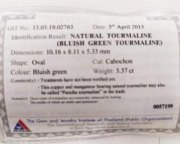 3.37 Cts GIT Certified Copper Bearing Blue-Green Natural Paraiba Tourmaline