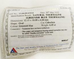 6.45 Cts GIT Certified Copper Bearing Greenish Blue Natural Paraiba Tourmal