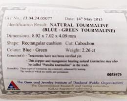 2.26 Cts GIT Certified Copper Bearing Blue-Green Natural Paraiba Tourmaline