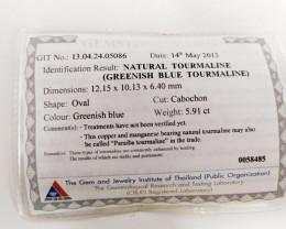 5.91Cts GIT Certified Copper Bearing Greenish Blue Natural Paraiba Tourmali