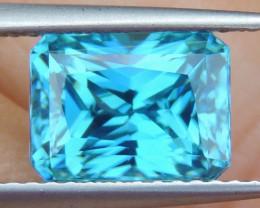 4.92cts, Blue Zircon, Precision Cut,  9x7mm