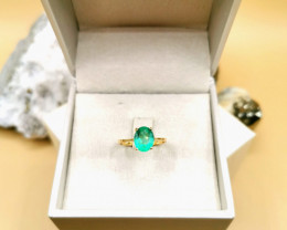 1,79ct Colombian Emerald 18k Solid Gold Ring Ref 28/32 Colombian Emerald na