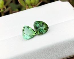 2.20 Ct Natural Green Transparent Tourmaline Gems Pairs