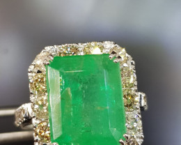 9.00ct Diamond Ring Set With Vivid Colombian Emerald , 14kt Solid White