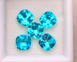 5.65ct Natural Paraiba Color Topaz Cushion Cut Lot E96