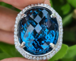 Certifed London Blue Topaz Checkerboard Cutting