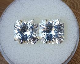 13,72ct White Topaz pair - Master cut & art deco look!