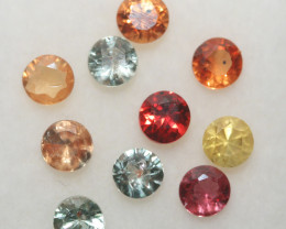 2.13 Ct  Multicolor Sapphire Lot Faceted Round 3.5mm.(10Pcs).-(SKU329)