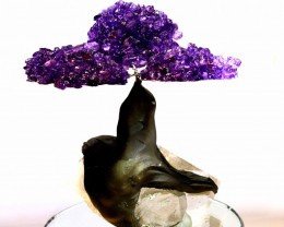 1100 CTS  BEAUTIFUL AMETHYST TREE CARVING   LT-1018