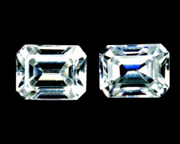 3.58 Cts Natural Sparkling White Zircon 7x5mm Octagon Cut 2Pcs Tanzania