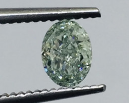 GIA Certified Oval 0.50ct Fancy Green I1 Natural loose Diamond