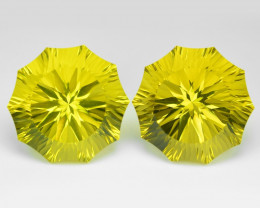 42.66 Cts 2pcs  Millennium Cut Fancy Yellow Color Natural Lemon Quartz
