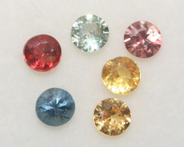 1.33 Ct  Multicolor Sapphire Lot Faceted Round 3.5mm.(6Pcs).-(SKU331)