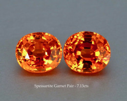 Matching Pair Fanta Orange Sapessartite Garnet - 7.13ct total - Eye Clean G