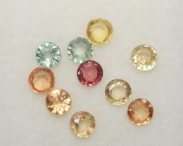 1.64 Ct  Multicolor Sapphire Lot Faceted Round 3mm.(10Pcs).-(SKU334)