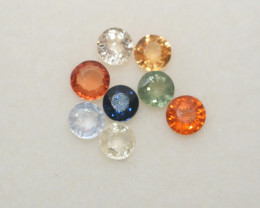 1 Ct  Multicolor Sapphire Lot Faceted Round 3mm.(8Pcs).-(SKU335)