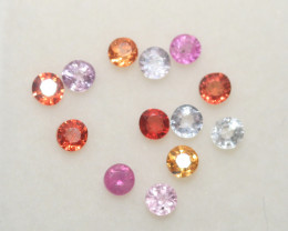 1.03 Ct  Multicolor Sapphire Lot Faceted Round 2.3mm.(13Pcs).-(SKU336)