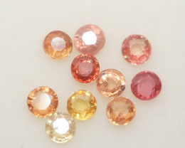 1.57 Ct  Multicolor Sapphire Lot Faceted Round 3mm.(10Pcs).-(SKU337)