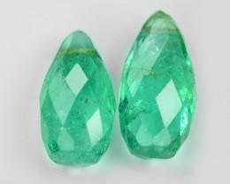 *No Reserve*2.32 Cts 2pcs Pair Natural Vivid Green Zambian Emerald Loose Ge