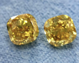 GIA Cushion Shape 2.03 Total Carat Weight Natural Fancy Vivid Orange Yellow