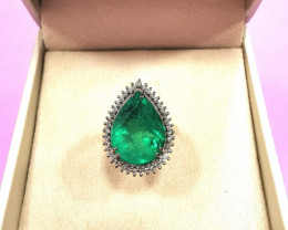 6,25ct Colombian Emerald 18k Solid Gold Ring Colombian Emerald natural emer
