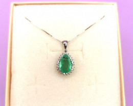 1,45ct Colombian Emerald 18k Solid Gold Pendant Colombian Emerald natural e