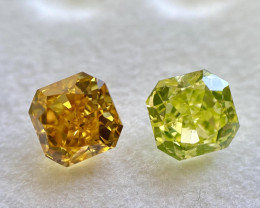 GIA Radiant 1.24 Carat Natural Fancy Vivid Orange Yellow and Fancy Intense