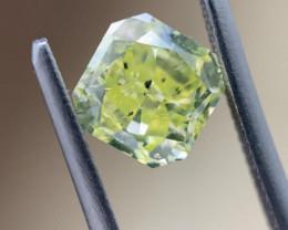 GIA Radiant 1.10 Carat Natural Fancy Intense Green Yellow Loose Diamond