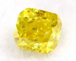 Intense Yellow Diamond 0.13Ct Untreated Genuine Fancy Diamond B0309