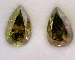 GIA Certified Pear 2.05 Total Carat Weight Chameleon Diamond Pair