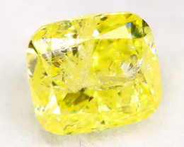 Intense Yellow Diamond 0.31Ct Untreated Genuine Fancy Diamond AT0007