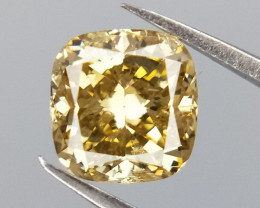 Rare Cushion cut diamond , Light Green color diamond , 0.51 cts